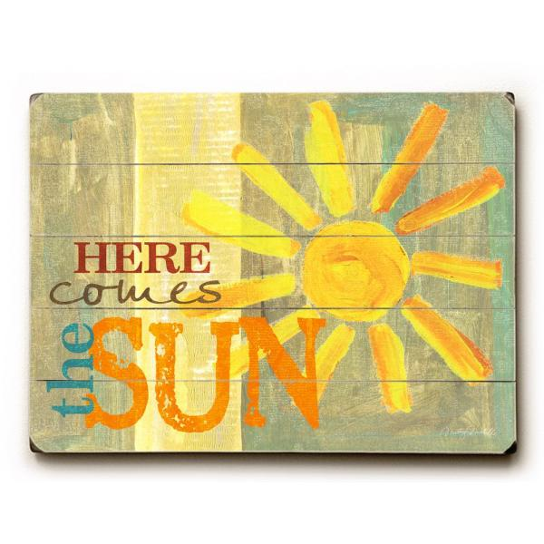 12 In X 16 In Here Comes The Sun By Misty Diller Planked Wood Wall Art