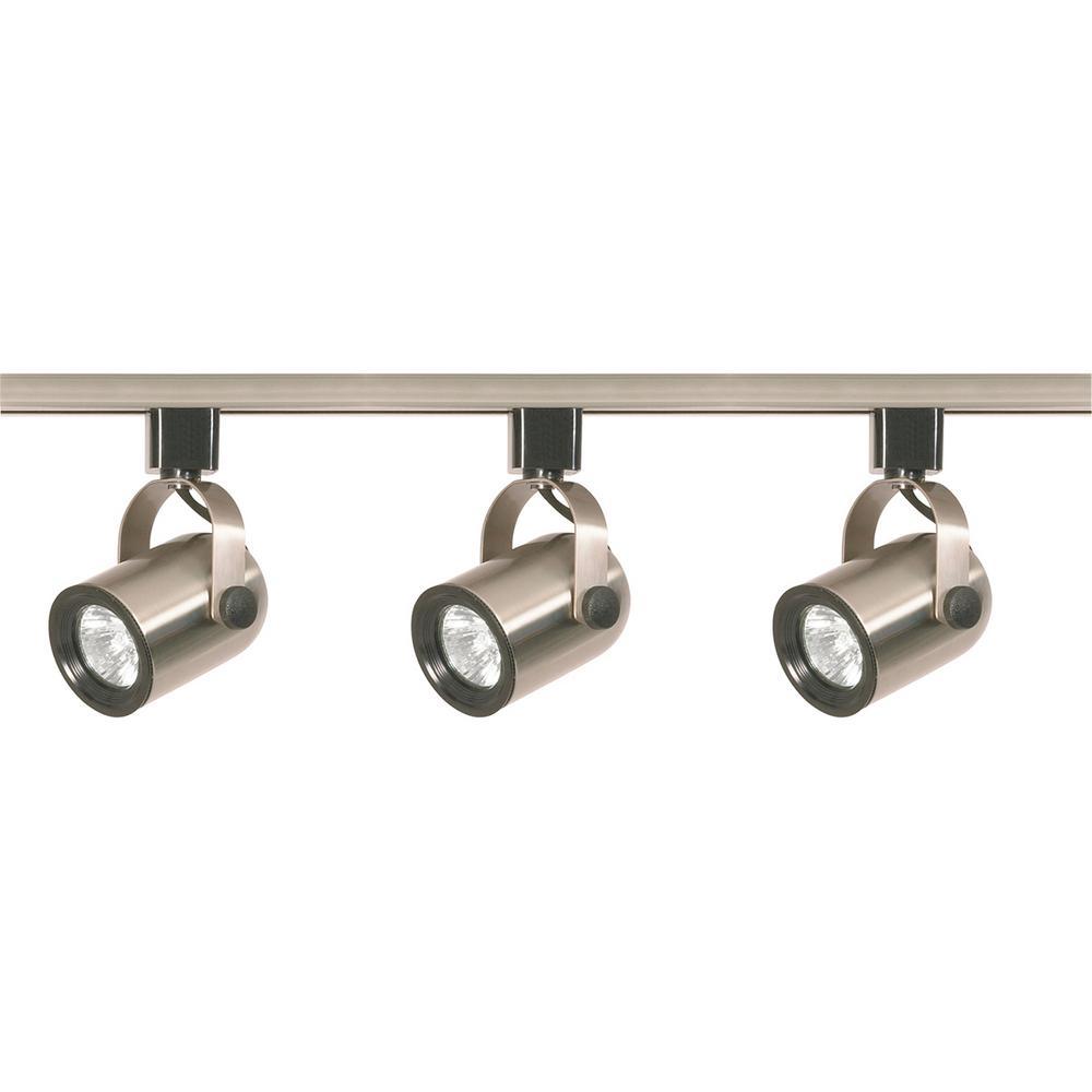 4 ft. 3-Light Brushed Nickel Halogen Track Lighting Head Kit