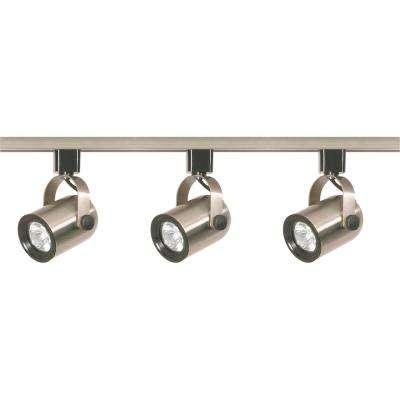 4 ft. 3-Light Brushed Nickel Halogen Track Lighting Head Kit