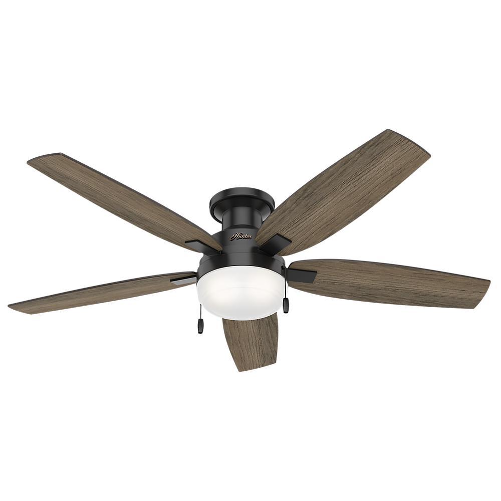 Duncan 52 in. LED Indoor Matte Black Flush Mount Ceiling Fan with Light Kit