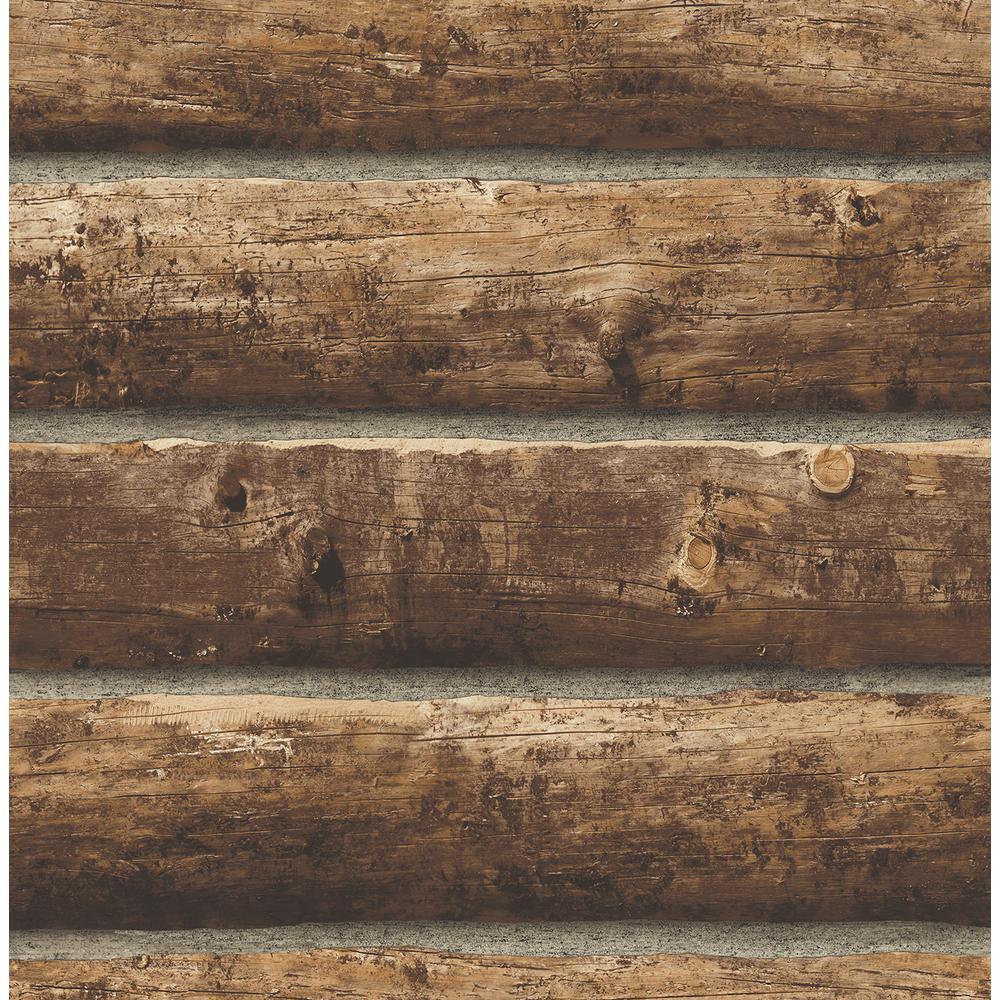 Rustic Log Cabin Peel and Stick Wallpaper 30.75 sq. ft.