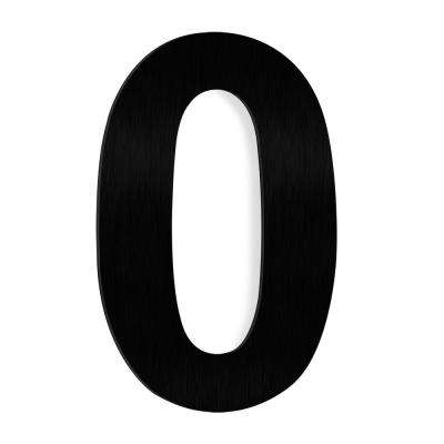 6 in. Black Stainless Steel Floating House Number 0