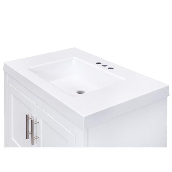 Glacier Bay Spa 30 In W X 18 75 In D Bath Vanity In White With Cultured Marble Vanity Top In White With White Sink And Mirror Ppspawht30my The Home Depot
