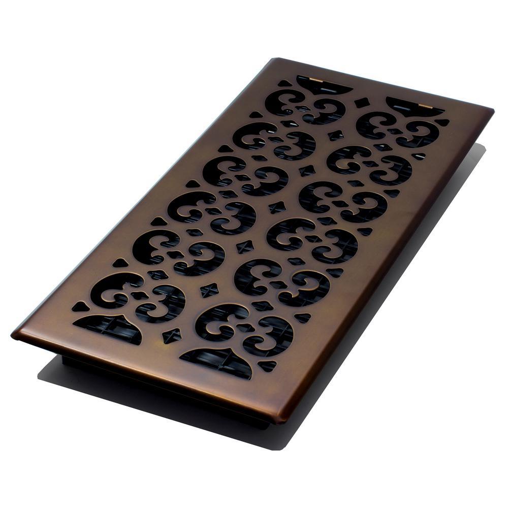 6 in. x 14 in. Scroll Rub Bronze Floor Register