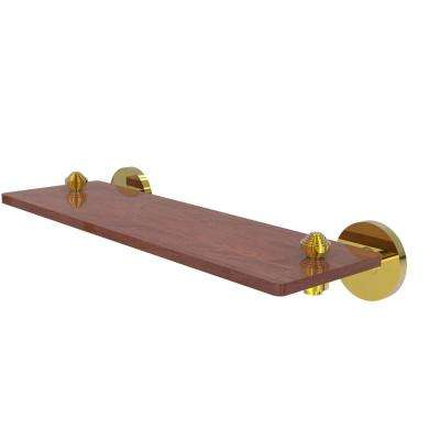South Beach Collection 16 in. Solid IPE Ironwood Shelf in Polished Brass