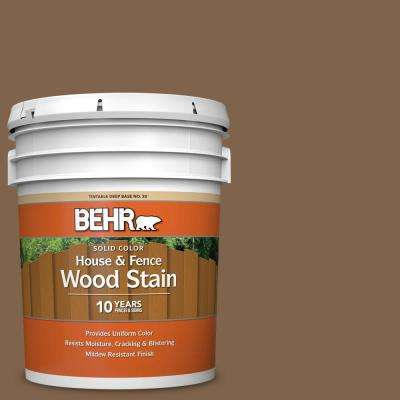 5 gal. #SC-109 Wrangler Brown Solid Color House and Fence Exterior Wood Stain
