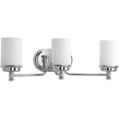Glide Collection 3-Light Polished Chrome Vanity Light with Opal Glass Shades