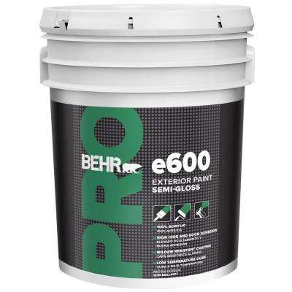 5 gal. e600 White Semi-Gloss Acrylic Exterior Paint