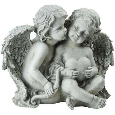 10 in. Sitting Cherub Angels Holding a Heart and Bow Outdoor Garden Statue