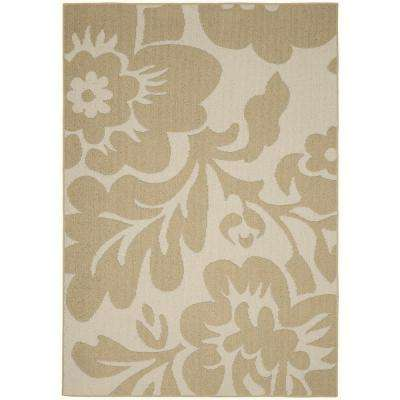 Floral Garden Tan/Ivory 8 ft. x 10 ft. Area Rug