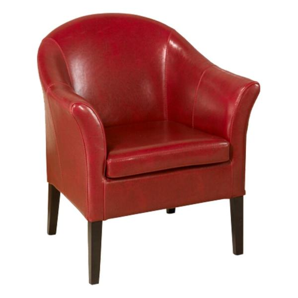 Exceptionnel Armen Living 1404 Red Bonded Leather Club Chair