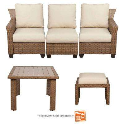 Tobago 5-Piece Modular Patio Sectional Set with Cushion Insert (Slipcovers Sold Separately)