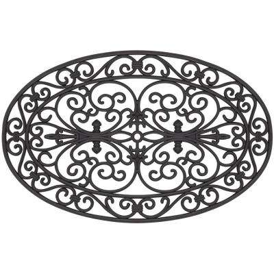 Wrought Iron Collection Black Garden Oval Scroll 18 in. x 30 in. Rubber Outdoor/Indoor Door Mat