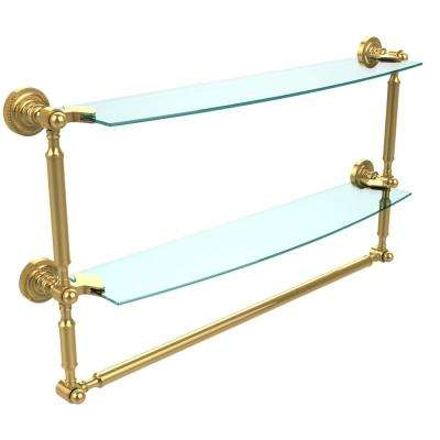 Dottingham 24 in. L  x 15 in. H  x 5 in. W 2-Tier Clear Glass Bathroom Shelf with Towel Bar in Unlacquered Brass