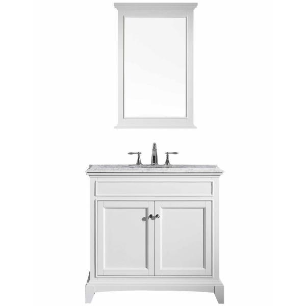 Elite Stamford 36 in. W x 23.5 in. D x 36 in. H Vanity in White with Carrera Marble Top in White with White Basin