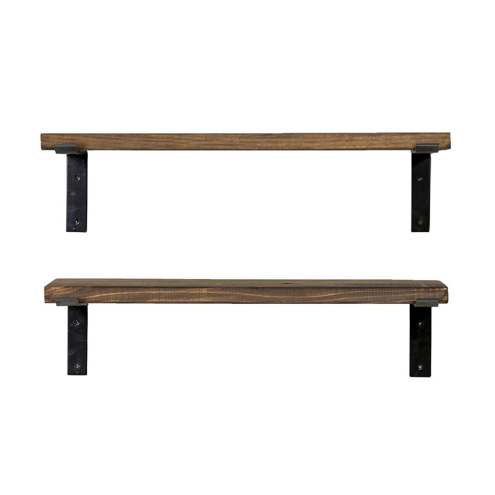 Del Hutson Designs Industrial Bracket 36 in. W x 10 in. D Floating Decorative Shelves (Set of 2)