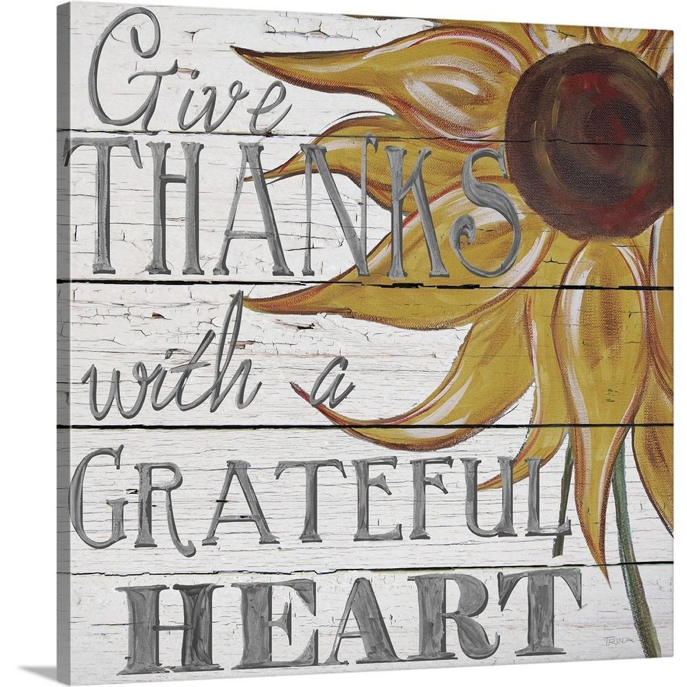 GreatBigCanvas ''Grateful Heart'' by Katrina Craven Canvas Wall Art 2542646_24_36x36
