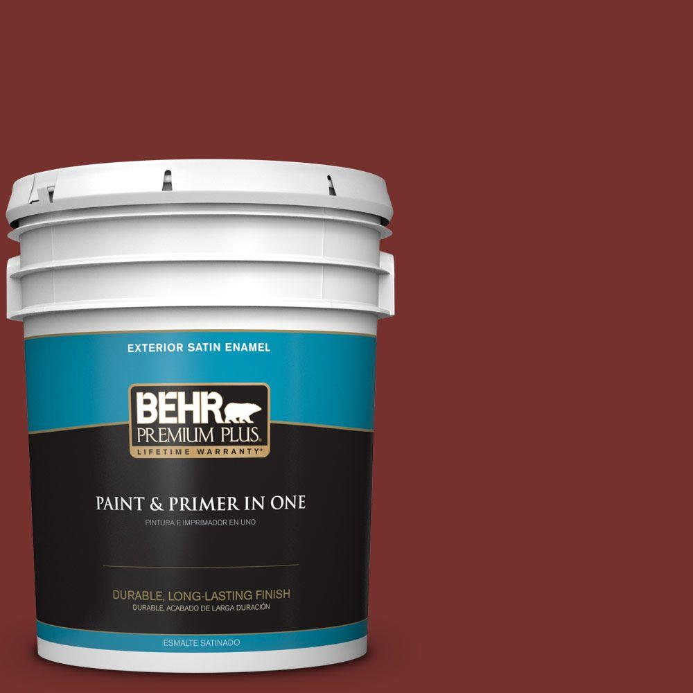 BEHR Premium Plus 5-gal. #ECC-15-3 Cherry Bark Satin Enamel Exterior Paint