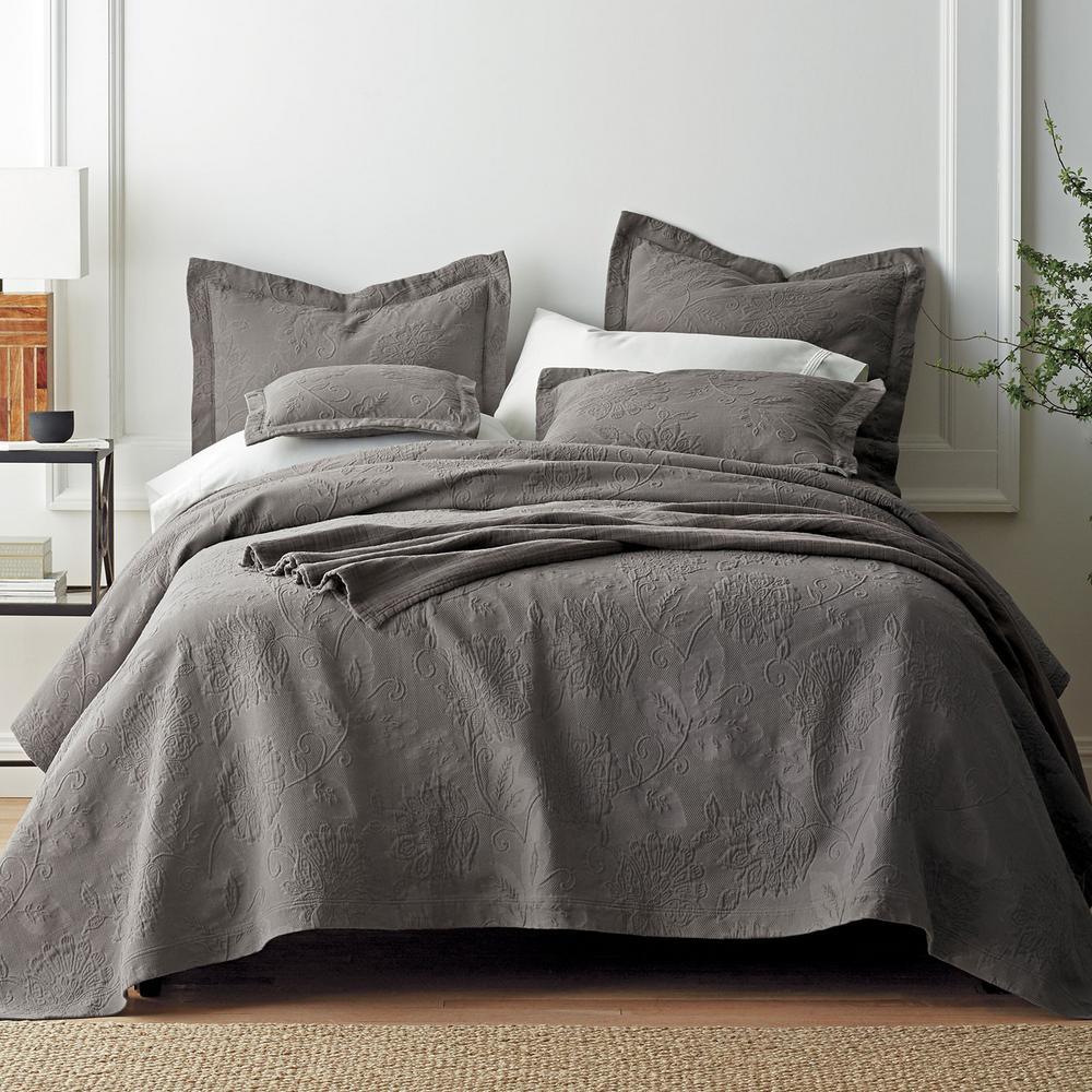 The Company Store Putnam Matelasse Dark Gray Cotton Queen Coverlet