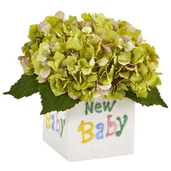 Nearly Natural 9.5 in. Hydrangea in New Baby Ceramic in Green