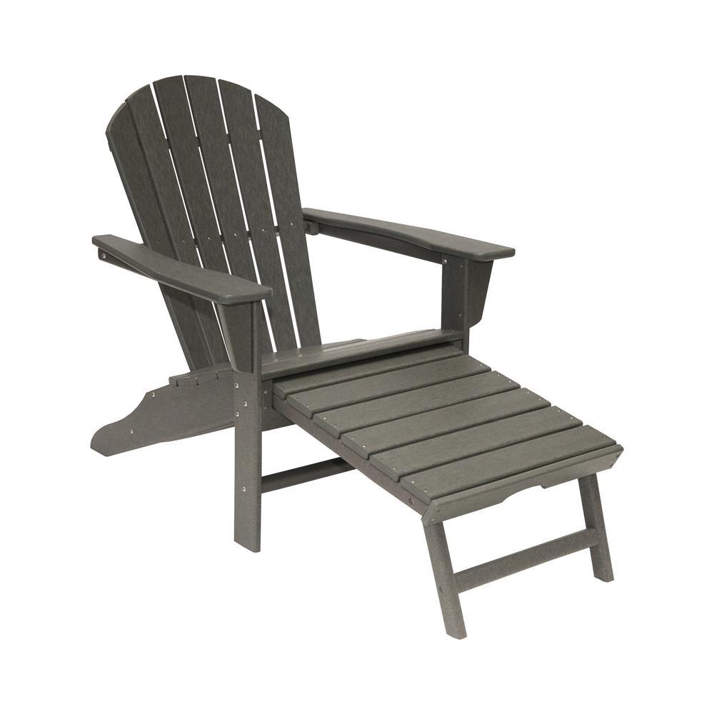 Hampton Gray Plastic Outdoor Patio Adirondack Chair with Hideaway Ottoman