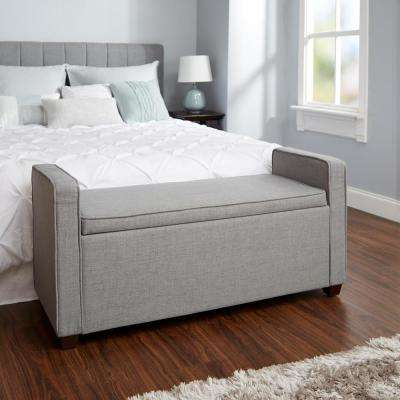 Madeline Silver Upholstered Storage Bench