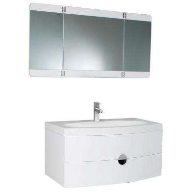 Energia 36 in. Vanity in White with Acrylic Vanity Top in White and 3-Panel Folding Mirror
