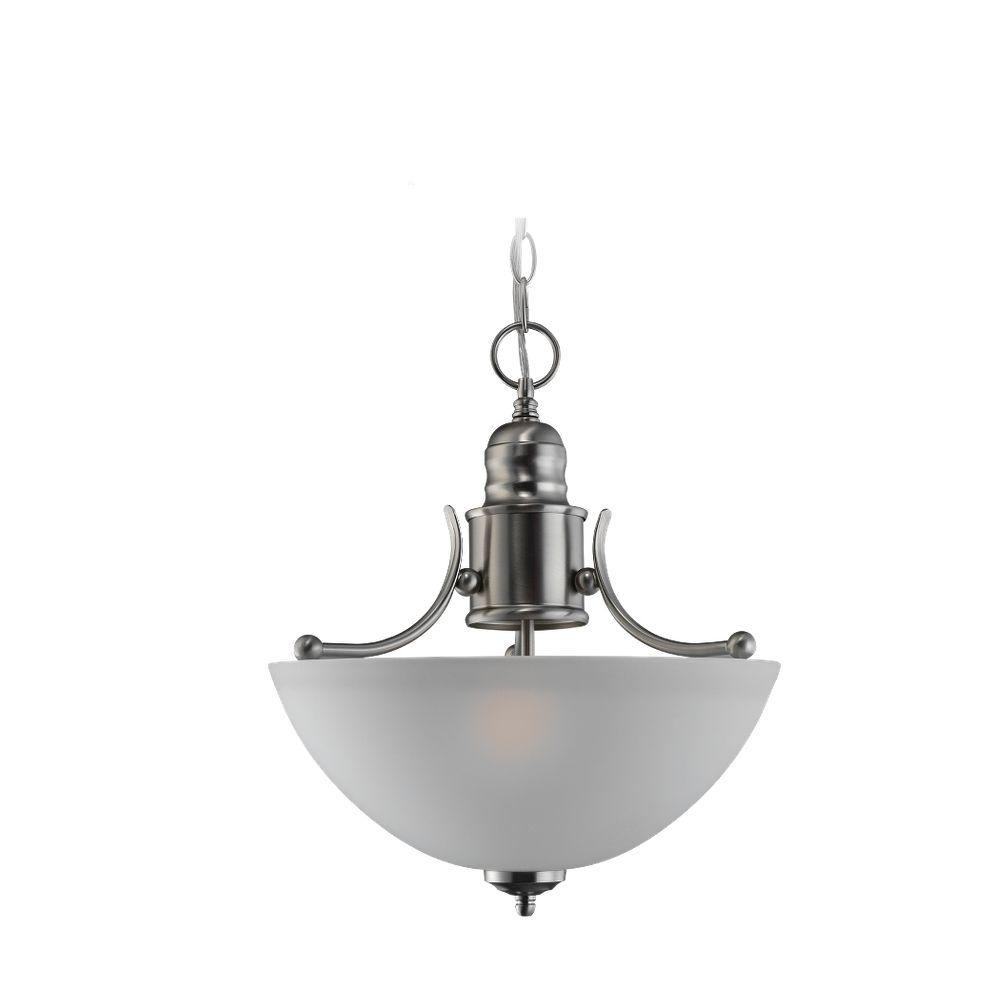 Sea Gull Lighting Linwood 2-Light Brushed Nickel Semi Flush Fixture-DISCONTINUED