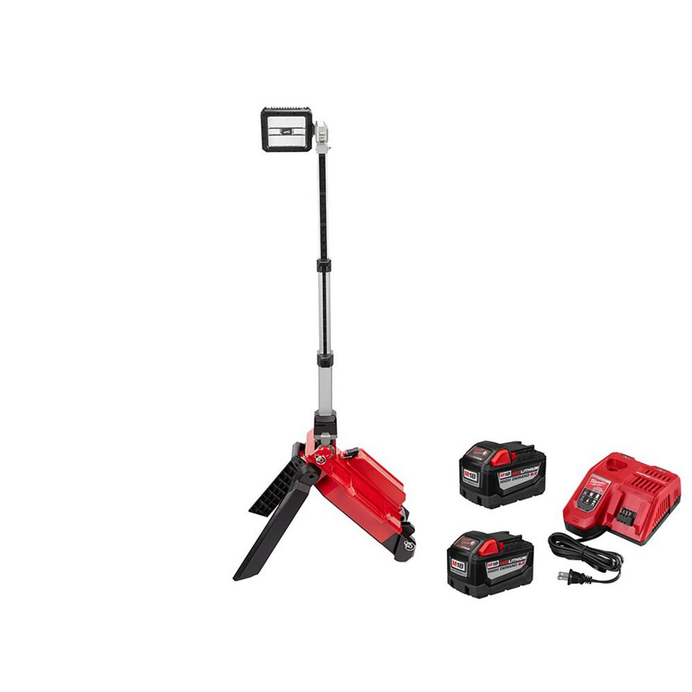 Milwaukee M18 ONE-KEY 18-Volt Lithium-Ion Cordless ROCKET Dual Pack Tower Light W/ (2) 9.0Ah Batteries, Rapid Charger