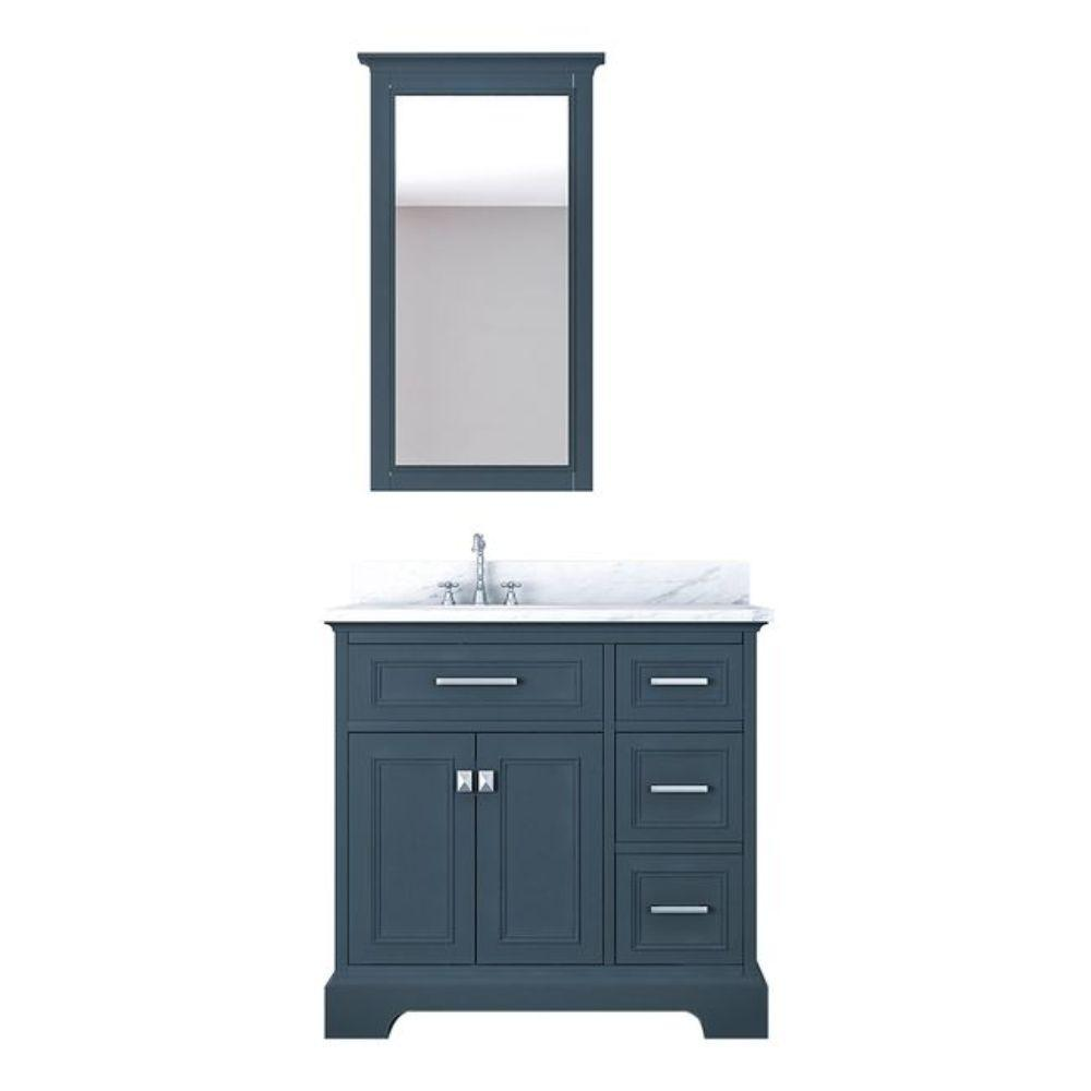 Alya Bath Yorkshire 37 in. W x 22 in. D Vanity in Gray with Marble Vanity Top in White with White Basin and Mirror