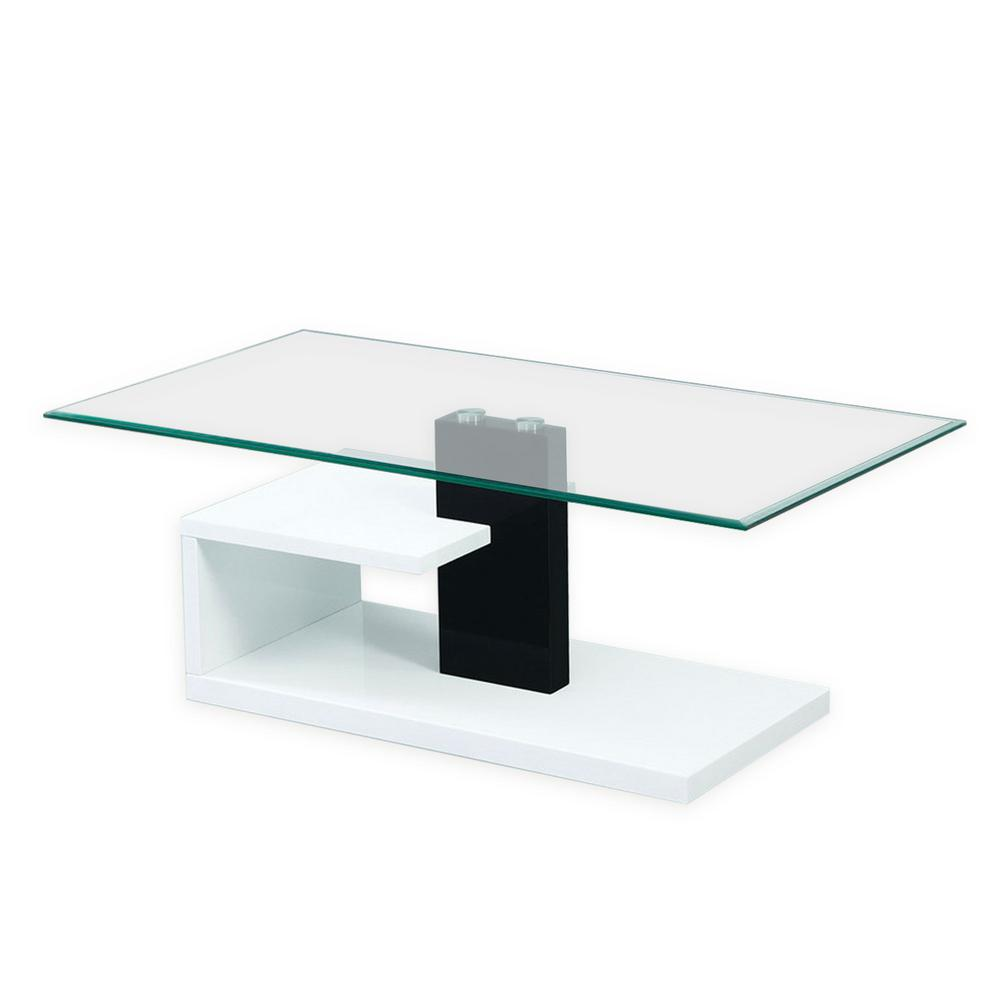 Fab Gl And Mirror Modern Tempered Black White Coffee Table With Glossy Stylish Base