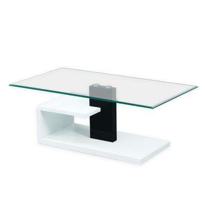 Modern Tempered Black and White Glass Coffee Table with Glossy Stylish Base