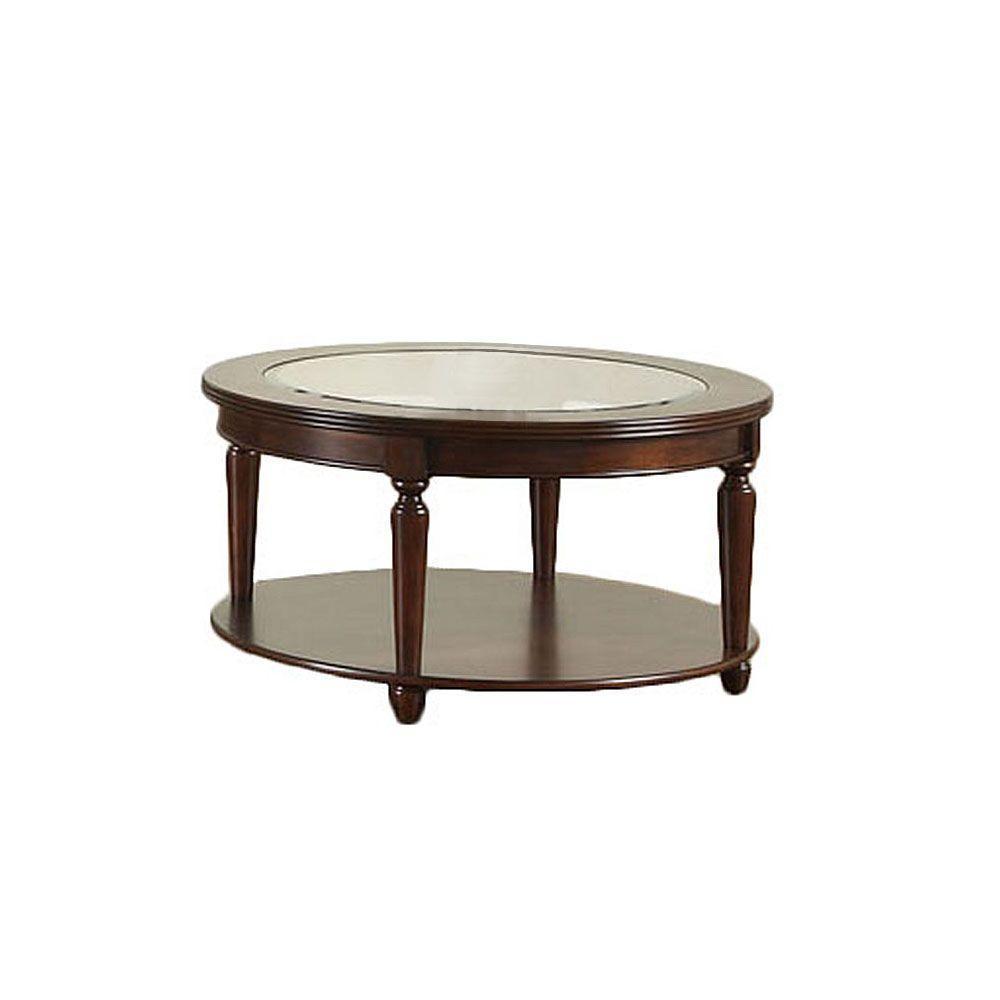 Furniture of America Granvia Dark Cherry Round Coffee Table