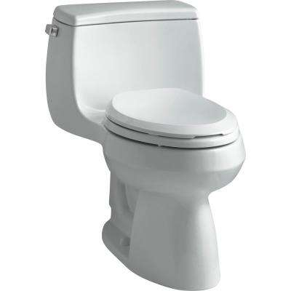 Gabrielle Comfort Height 1-Piece 1.28 GPF Single Flush Elongated Toilet with AquaPiston Flushing Technology in Ice Grey