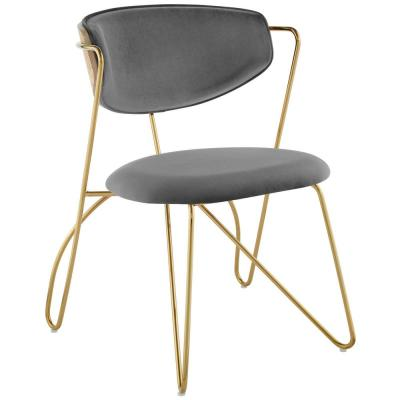 Prevail Gold Gray Stainless Steel Dining and Accent Performance Velvet Chair