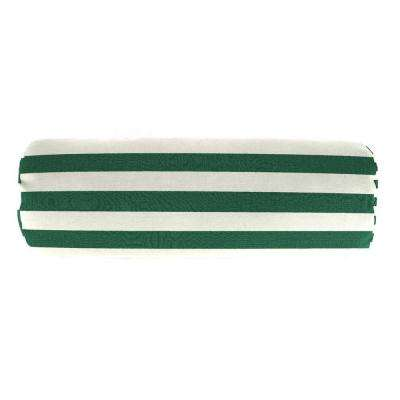 Sunbrella 7 in. x 20 in. Mason Forest Green Bolster Outdoor Pillow
