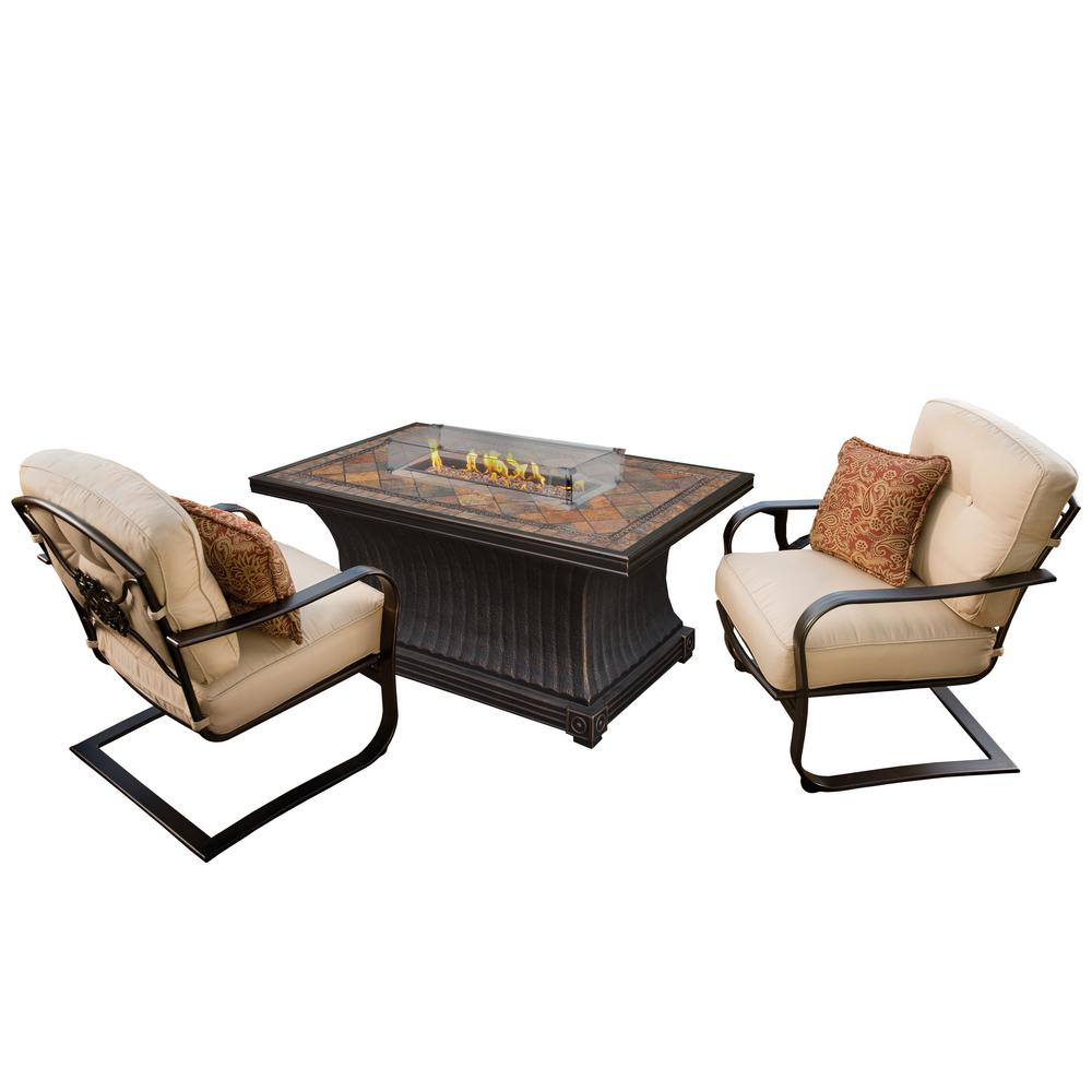 Belle pierre 4 piece metal fire pit patio conversation set with oatmeal