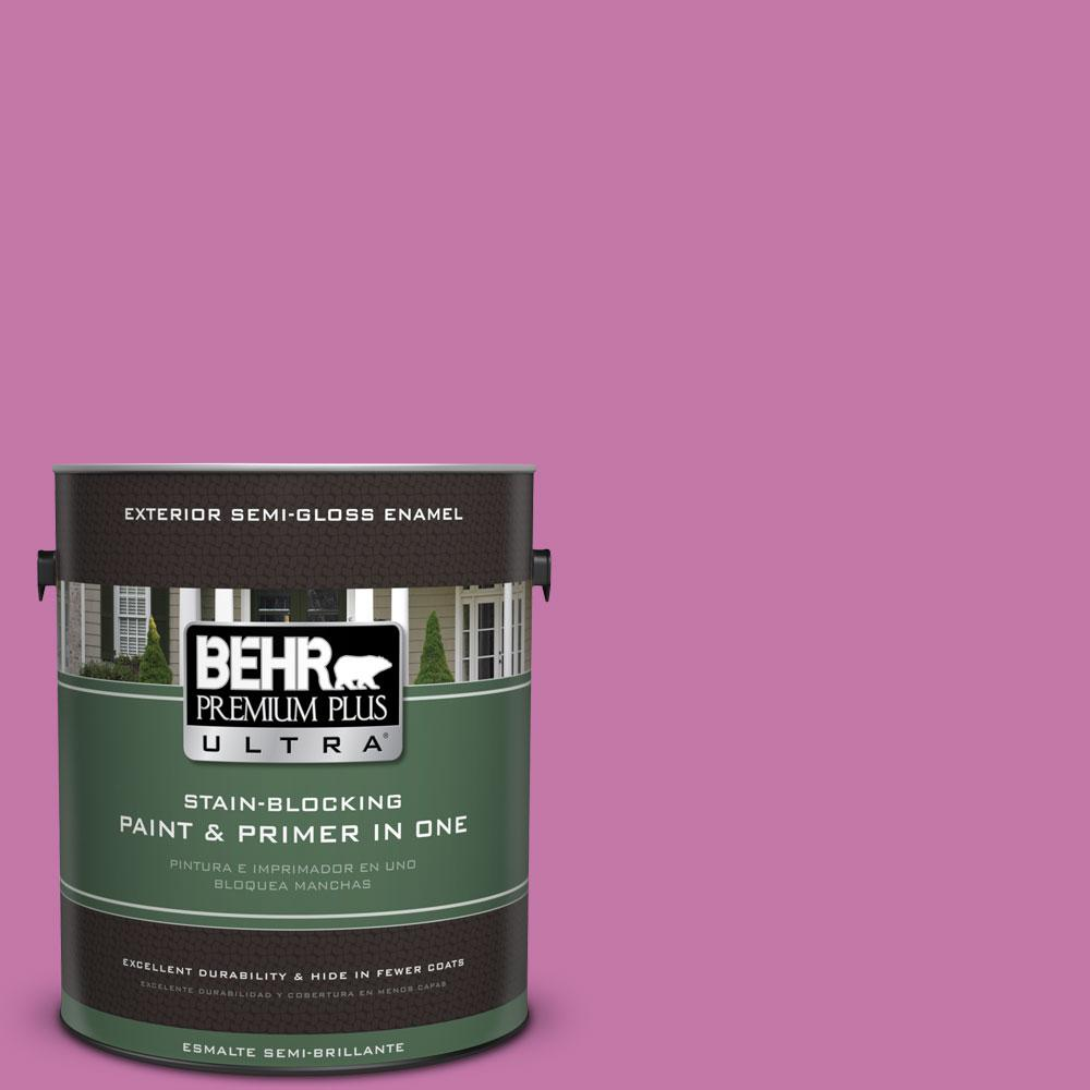 BEHR Premium Plus Ultra 1-gal. #680B-5 Strawberry Freeze Semi-Gloss Enamel Exterior Paint