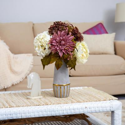 17 in. Peony, Hydrangea and Dahlia Artificial Arrangement in Stoneware Vase with Gold Trimming