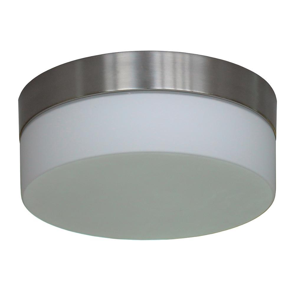 1-Light Satin Steel Flushmount