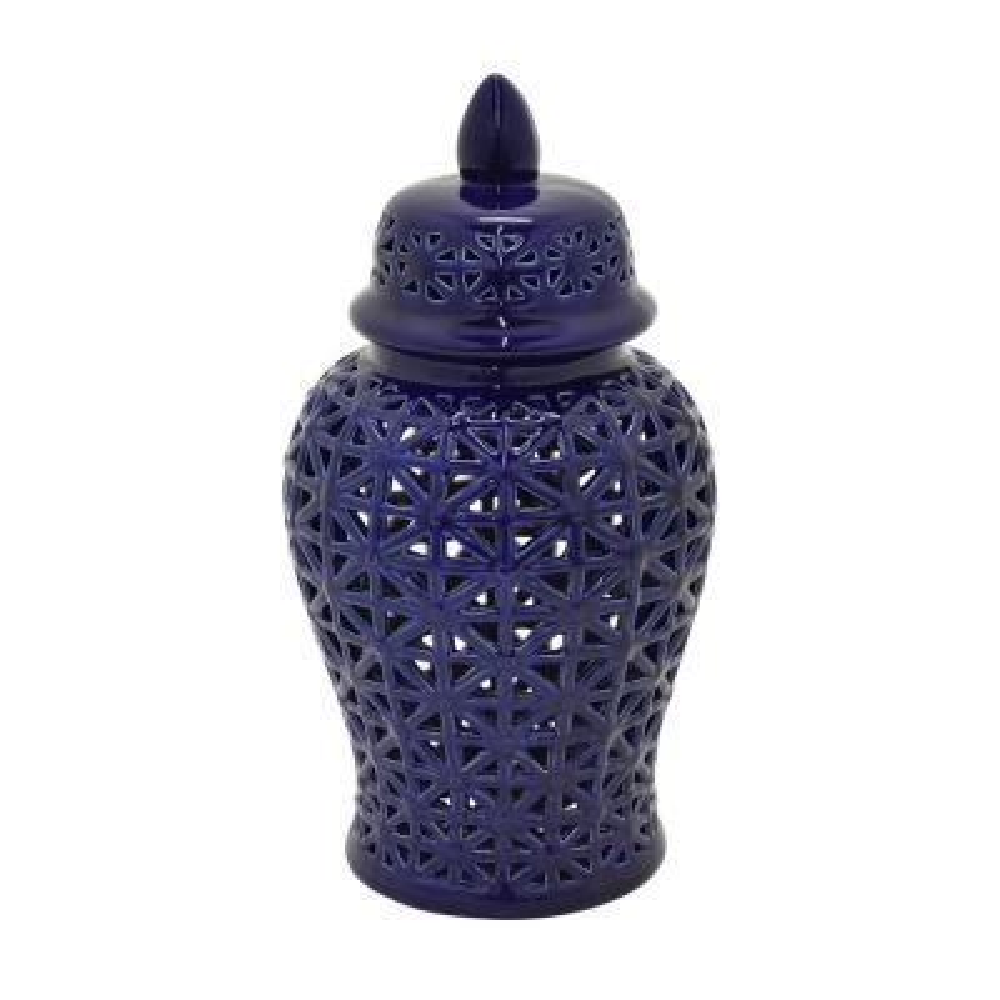 12 in. Blue Lidded Ceramic Pierced Jar
