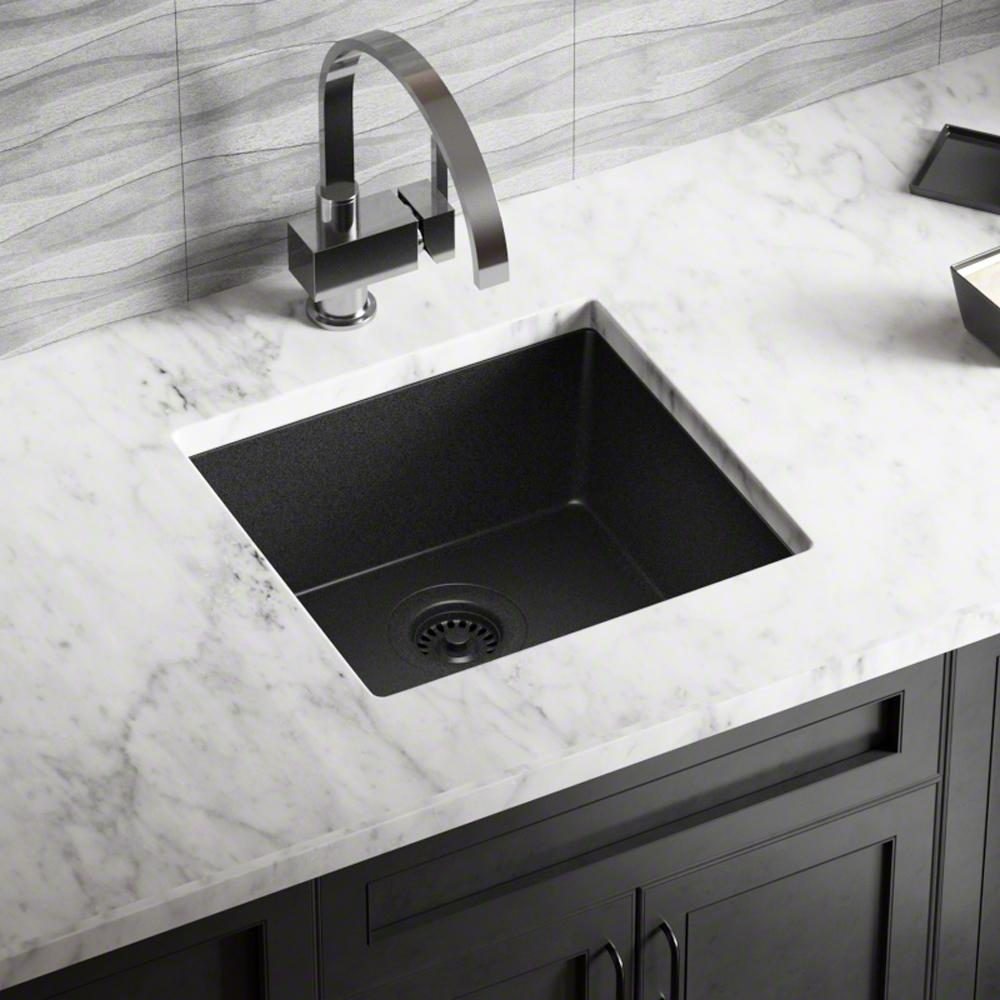 MR Direct All-in-One Dualmount Granite Composite 18 in. Single Bowl Kitchen Sink in Black