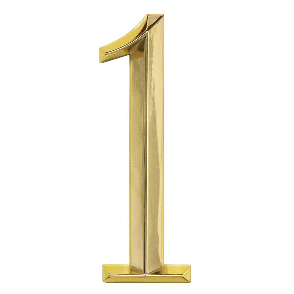 Whitehall Products Classic 6 in. Polished Brass Number 1 ...