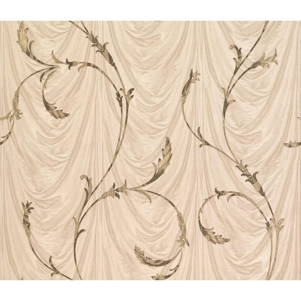 Eleanora Beige Scrolling Vine Wallpaper