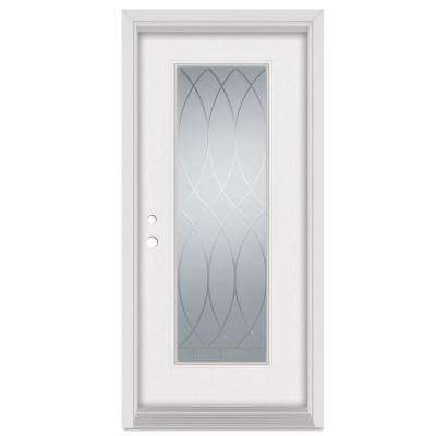 36 in. x 80 in. V-Groove Right-Hand Full Lite Finished Fiberglass Mahogany Woodgrain Prehung Front Door Brickmould
