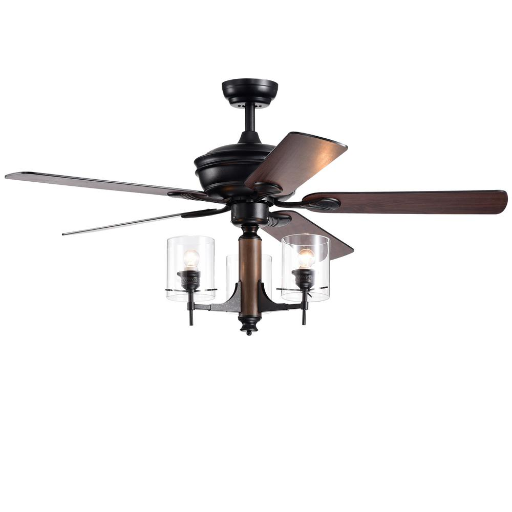 Warehouse of Tiffany Saranac 5-Blade 52 in  Forged Black Lighted Ceiling  Fans with Clear Pillar Glass Lamps Remote Controlled