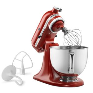 Artisan 5 Qt. 10-Speed Gloss Cinnamon Stand Mixer with Flat Beater, Wire  Whip and Dough Hook Attachments