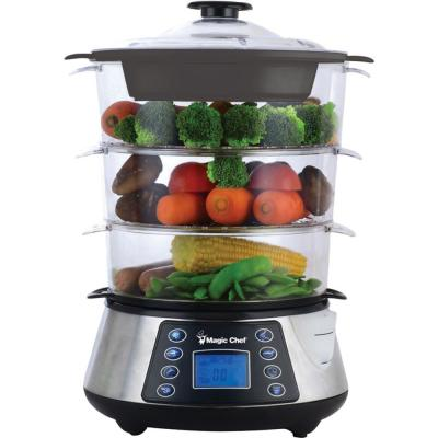 9-Cup Silver 3-Tier Electric Food Steamer