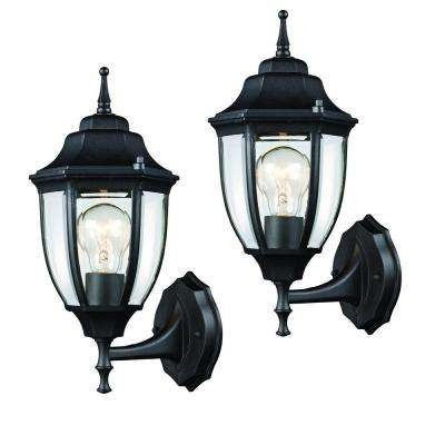 Black outdoor wall lantern 2 pack