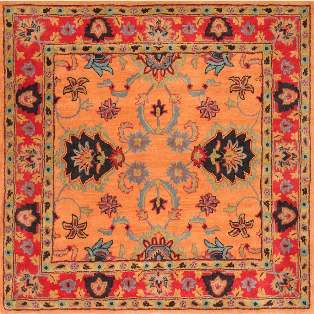 Montesque Oriental Persian Orange 6' Square Rug